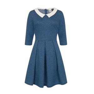 Joanie Clothing Blue Polka Dot Collared Dress